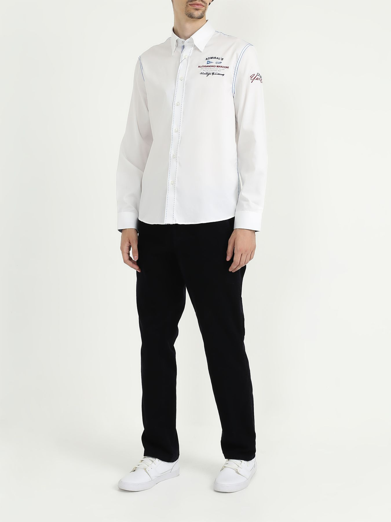 Рубашка Alessandro Manzoni Yachting Рубашка с длинным рукавом рубашка с длинным рукавом для деловых людей весенняя осень твердый цвет silm fit