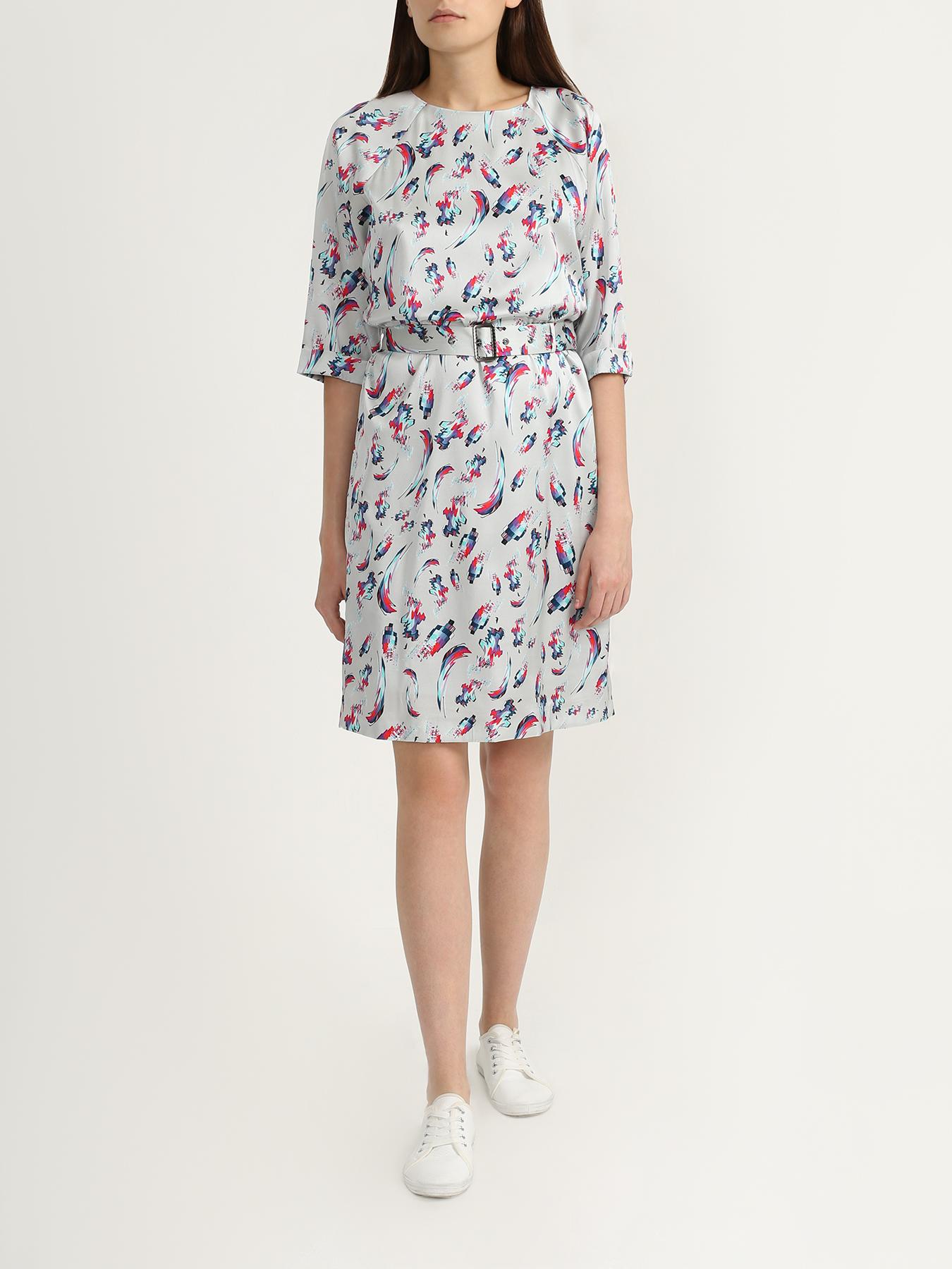 Платье Korpo Collezioni Шелковое платье с поясом полуприлегающее платье с длинным поясом cavo