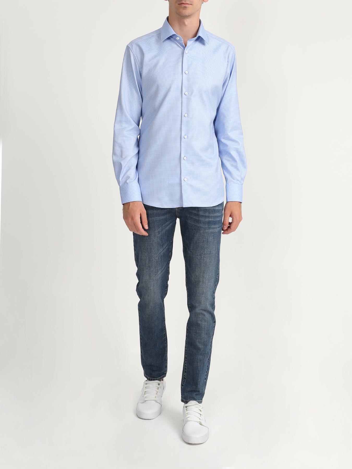 Рубашка Eterna Хлопковая рубашка с длинным рукавом рубашка с длинным рукавом для деловых людей весенняя осень твердый цвет silm fit