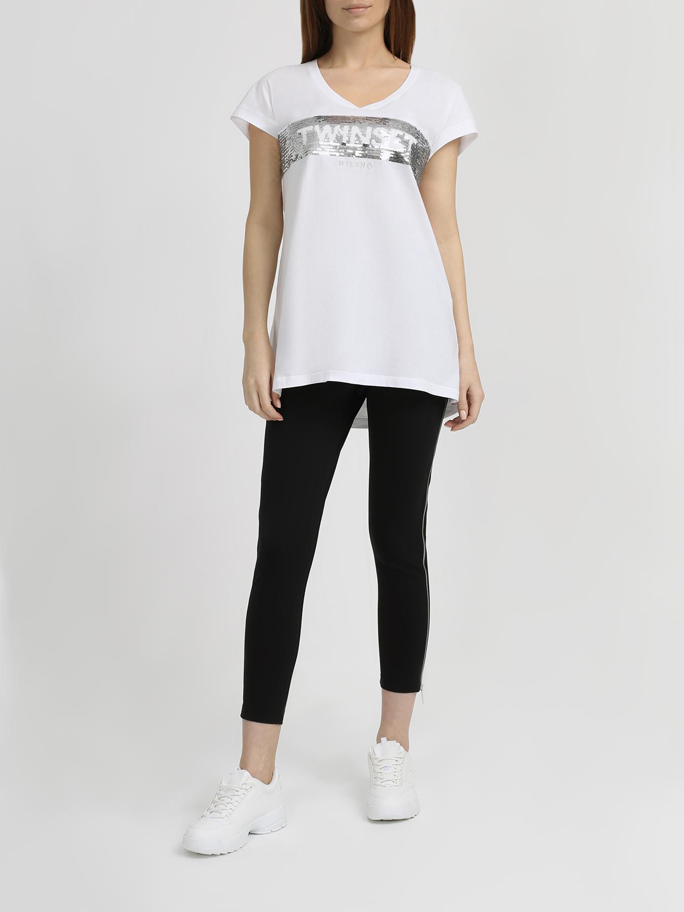 Фуфайка TWINSET MILANO Хлопковая футболка джинсы twinset milano twinset milano tw008ewbwph2