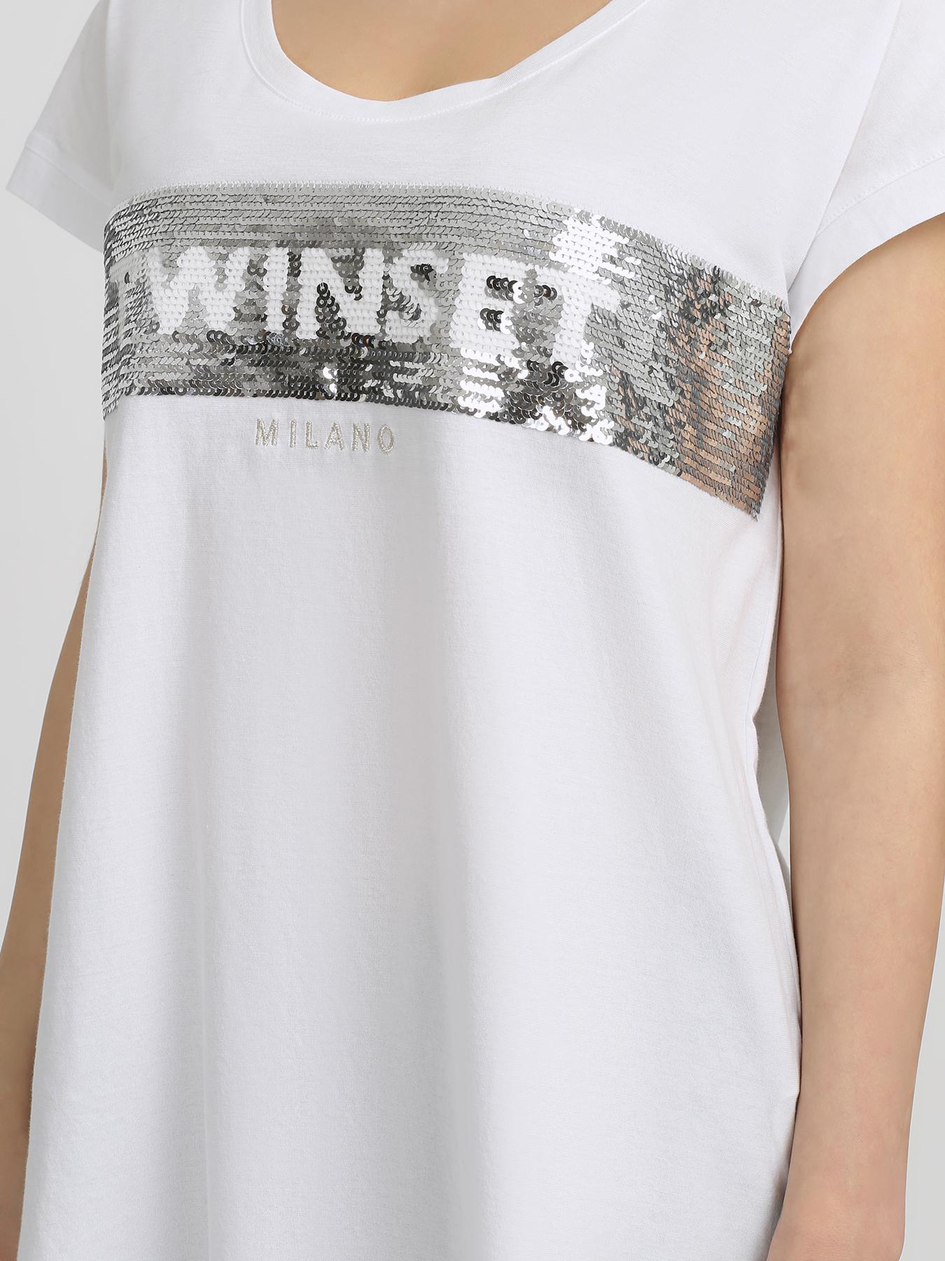 TWINSET MILANO Хлопковая футболка 333255-043 Фото 3