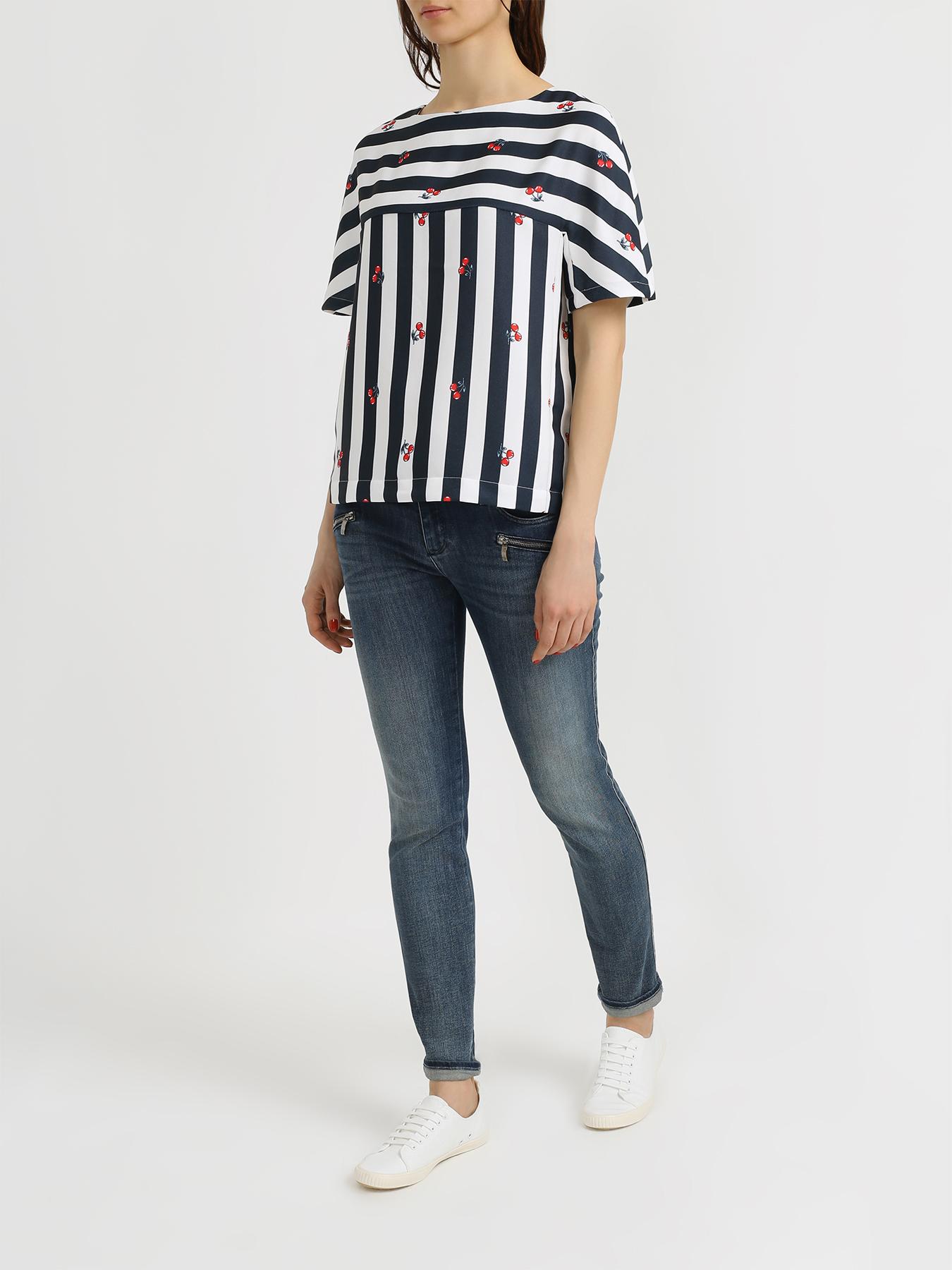 Блузка 6 P.M. Блузка с полосками шар матовый серебряный с черными полосками 6 см 6 шт