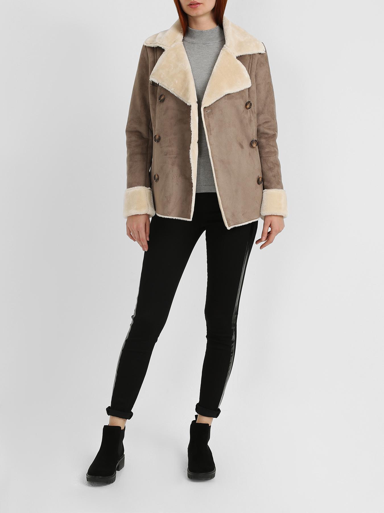 Куртка 6 P.M. Женская дубленка 12storeez дубленка с лацканами бежевый