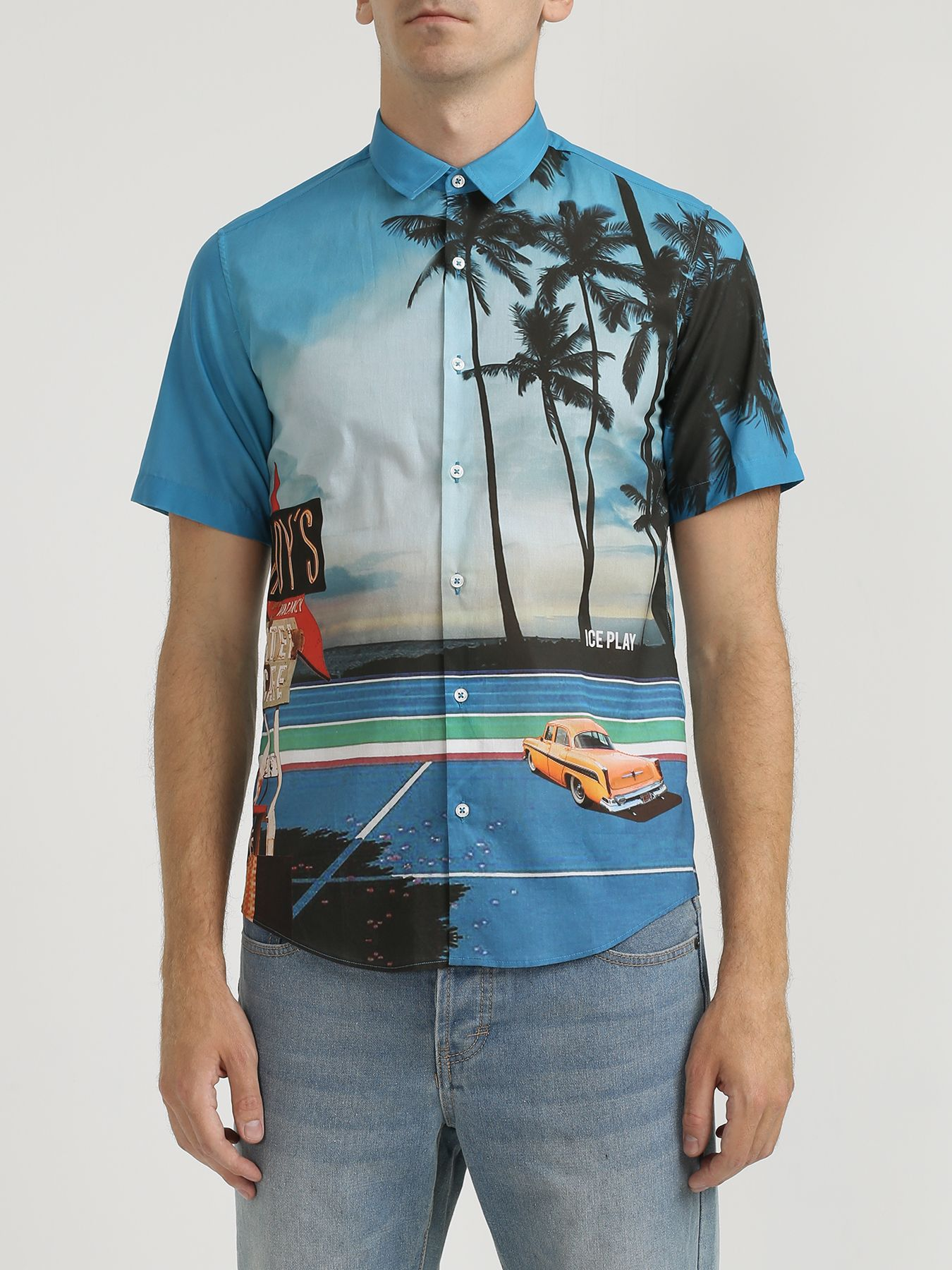 ночная рубашка с принтом в полоску Рубашки Ice Play Рубашка с ярким принтом