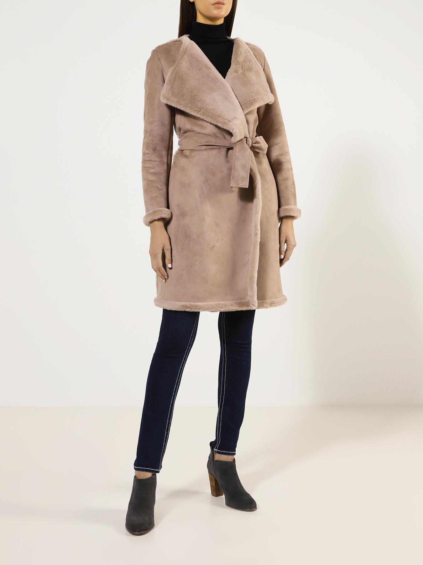 Пальто Emme Marella Дубленка Sabrina 12storeez дубленка с лацканами бежевый