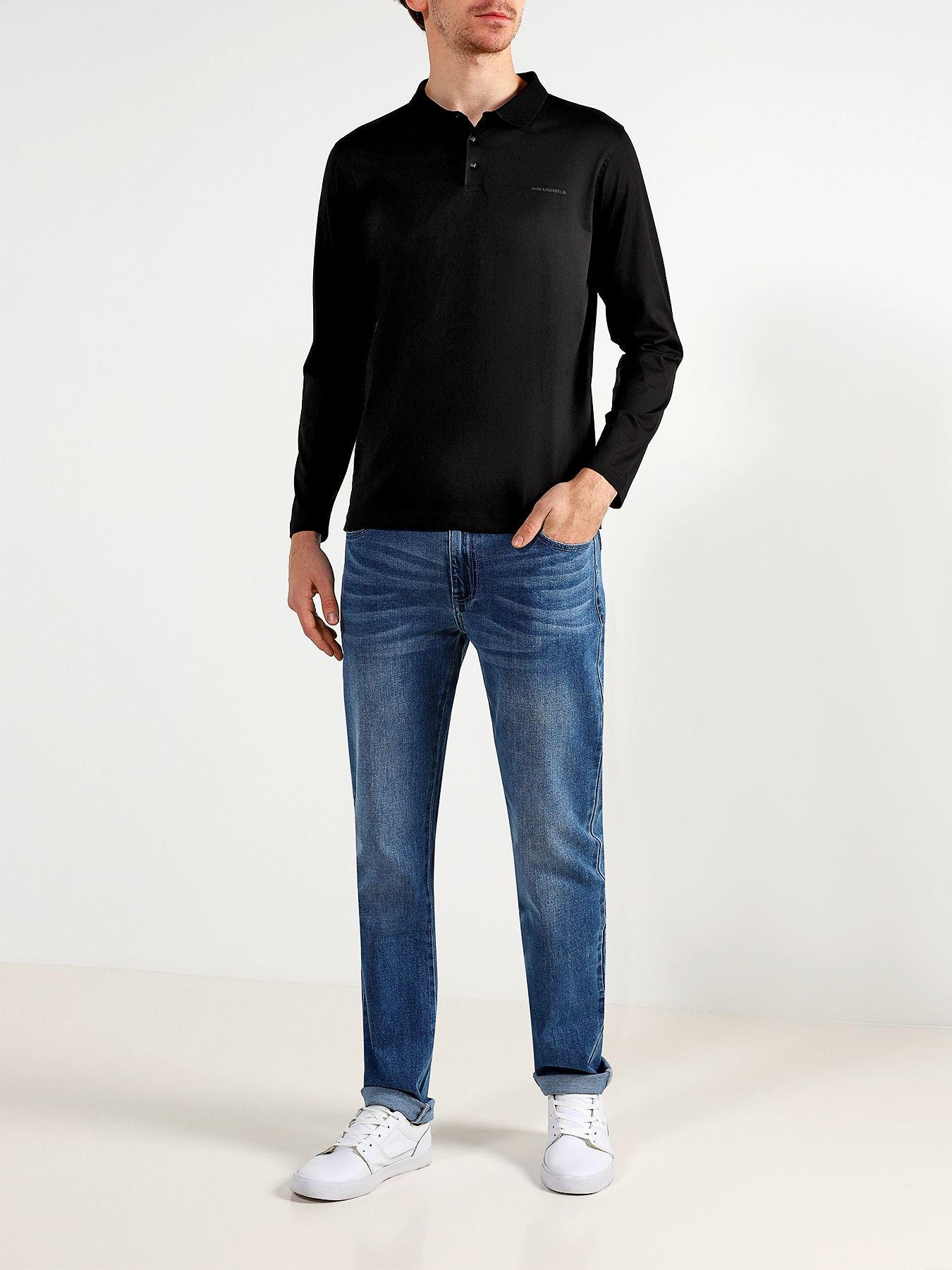 Рубашка с воротом поло Karl Lagerfeld Поло с длинным рукавом